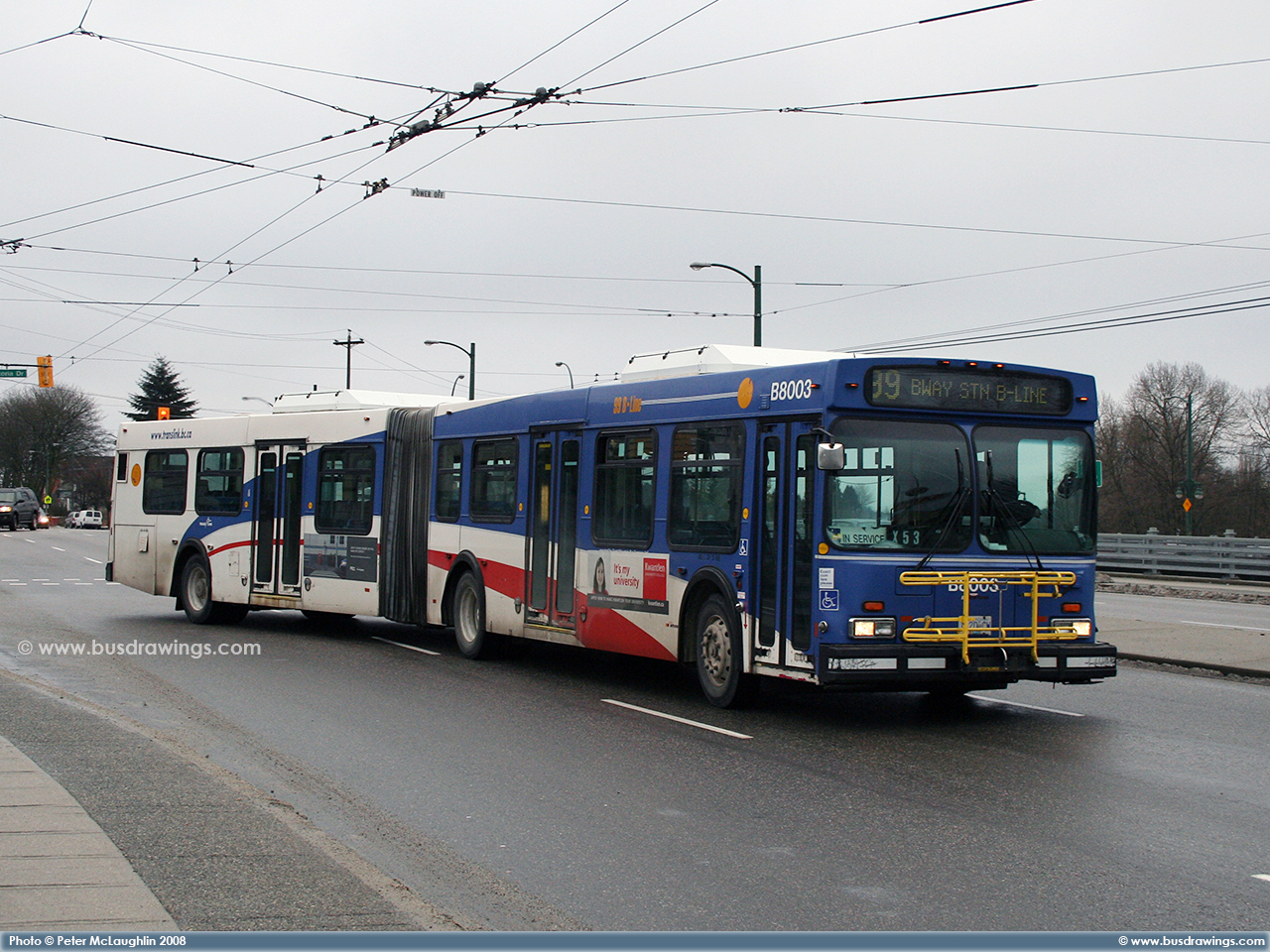 B8003 Heads To Broadway Station Start In Service As A Route 99 B Line Photos Captured By Peter McLaughlin On February 1 2008