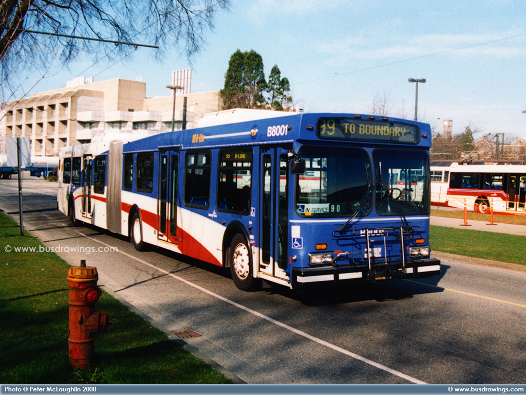 B8001 Is Seen Leaving The UBC Transit Centre As A Route 99 B Line On March 30 2000 Photo Captured By Peter McLaughlin