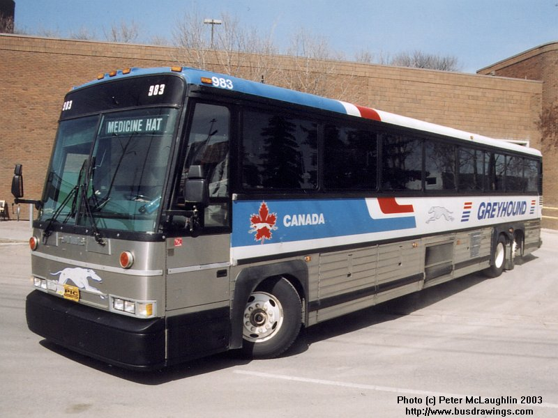 983 has just departed the greyhound bus terminal near downtown calgary ...